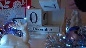 Дата 9-ое декабря преграждает календарь пришествия сток-видео