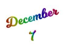 Дата 7-ое декабря календаря месяца, каллиграфическое 3D представило иллюстрацию текста покрашенный с градиентом радуги RGB Стоковая Фотография
