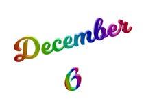 Дата 6-ое декабря календаря месяца, каллиграфическое 3D представило иллюстрацию текста покрашенный с градиентом радуги RGB Стоковое Изображение RF