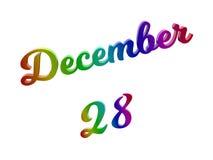 Дата 28-ое декабря календаря месяца, каллиграфическое 3D представило иллюстрацию текста покрашенный с градиентом радуги RGB Стоковое Изображение