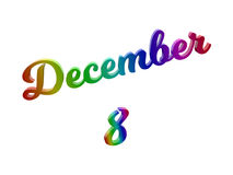 Дата 8-ое декабря календаря месяца, каллиграфическое 3D представило иллюстрацию текста покрашенный с градиентом радуги RGB Стоковые Фотографии RF