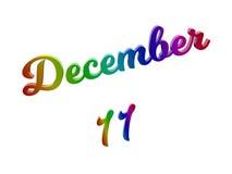 Дата 11-ое декабря календаря месяца, каллиграфическое 3D представило иллюстрацию текста покрашенный с градиентом радуги RGB иллюстрация штока