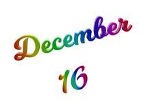 Дата 16-ое декабря календаря месяца, каллиграфическое 3D представило иллюстрацию текста покрашенный с градиентом радуги RGB Стоковые Фотографии RF