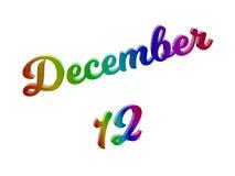 Дата 12-ое декабря календаря месяца, каллиграфическое 3D представило иллюстрацию текста покрашенный с градиентом радуги RGB Стоковое фото RF