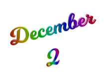 Дата 2-ое декабря календаря месяца, каллиграфическое 3D представило иллюстрацию текста покрашенный с градиентом радуги RGB Стоковое Изображение RF