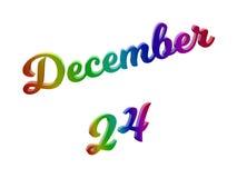 Дата 24-ое декабря календаря месяца, каллиграфическое 3D представило иллюстрацию текста покрашенный с градиентом радуги RGB Стоковое Изображение RF