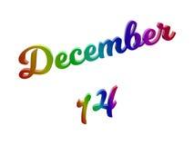 Дата 14-ое декабря календаря месяца, каллиграфическое 3D представило иллюстрацию текста покрашенный с градиентом радуги RGB Стоковые Фото