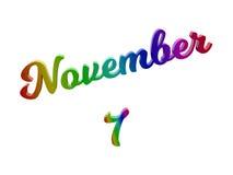 Дата 7-ое ноября календаря месяца, каллиграфическое 3D представило иллюстрацию текста покрашенный с градиентом радуги RGB Стоковое фото RF