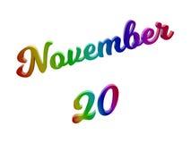Дата 20-ое ноября календаря месяца, каллиграфическое 3D представило иллюстрацию текста покрашенный с градиентом радуги RGB Стоковые Фото