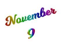Дата 9-ое ноября календаря месяца, каллиграфическое 3D представило иллюстрацию текста покрашенный с градиентом радуги RGB иллюстрация штока