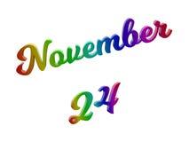 Дата 24-ое ноября календаря месяца, каллиграфическое 3D представило иллюстрацию текста покрашенный с градиентом радуги RGB Стоковое Изображение