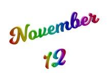Дата 12-ое ноября календаря месяца, каллиграфическое 3D представило иллюстрацию текста покрашенный с градиентом радуги RGB Стоковое Фото
