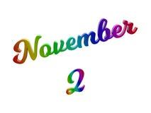 Дата 2-ое ноября календаря месяца, каллиграфическое 3D представило иллюстрацию текста покрашенный с градиентом радуги RGB Стоковое Изображение