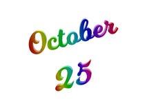 Дата 25-ое октября календаря месяца, каллиграфическое 3D представило иллюстрацию текста покрашенный с градиентом радуги RGB бесплатная иллюстрация