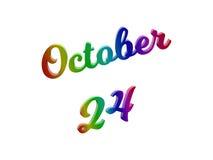 Дата 24-ое октября календаря месяца, каллиграфическое 3D представило иллюстрацию текста покрашенный с градиентом радуги RGB бесплатная иллюстрация