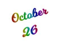 Дата 26-ое октября календаря месяца, каллиграфическое 3D представило иллюстрацию текста покрашенный с градиентом радуги RGB бесплатная иллюстрация