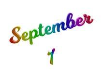 Дата 1-ое сентября календаря месяца, каллиграфическое 3D представило иллюстрацию текста покрашенный с градиентом радуги RGB Стоковое Изображение RF