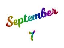 Дата 7-ое сентября календаря месяца, каллиграфическое 3D представило иллюстрацию текста покрашенный с градиентом радуги RGB Стоковые Изображения RF