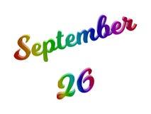 Дата 26-ое сентября календаря месяца, каллиграфическое 3D представило иллюстрацию текста покрашенный с градиентом радуги RGB Стоковая Фотография RF