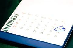 Дата 14-ое февраля на календаре Стоковые Изображения