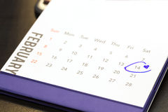 Дата 14-ое февраля на календаре Стоковое фото RF