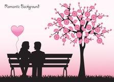 Дата под вишневым деревом иллюстрация вектора