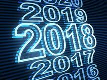 Дата 2018 строки Нового Года и голубой свет Стоковая Фотография RF