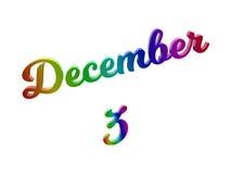 Дата 3-ье декабря календаря месяца, каллиграфическое 3D представило иллюстрацию текста покрашенный с градиентом радуги RGB Стоковая Фотография RF
