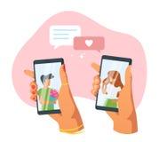 Датировать концепцию приложения и отношения бесплатная иллюстрация