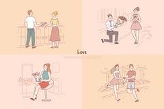 Датировка парня и девушки, пара держа руки и идя, экономно расходует дающ знамя букета цветков жены иллюстрация штока