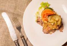 Датские специальности и национальные блюда, высококачественный открытый сандвич Стоковая Фотография