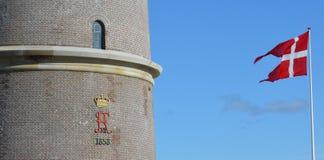 Датский флаг и королевский вензель Стоковое фото RF
