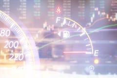 Датчик уровня горючего и фондовая биржа Стоковое Изображение
