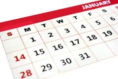 Даты календаря месяца января Стоковое фото RF