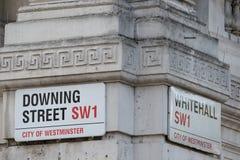 Даунинг-стрит, Лондон, Великобритания Стоковые Фотографии RF