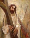 дают 2-ому крестному пути, Иисус его крест стоковое фото