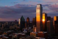 Даллас на заходе солнца Стоковое Изображение