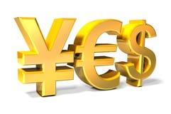 Да - иены, евро, значки золота доллара Стоковое Изображение RF