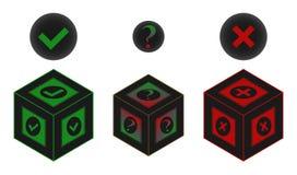 Да или нет или возможно vector форма коробки знака стилизованная стоковое фото