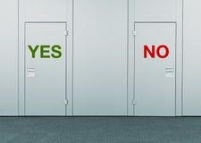 Да или нет, концепция выбора Стоковые Изображения RF