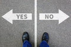 Да отсутствие справедливо неправильное решение декабрь решения концепции дела ответа Стоковое Изображение RF