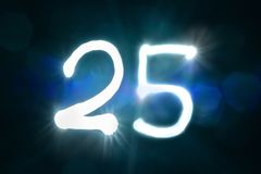 Двадцать пять светлых год годовщины номера блеска искры стоковая фотография