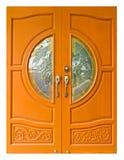 двери вводят тайское деревянное в моду Стоковая Фотография RF