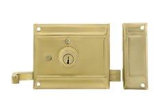 Двери и ручки двери с ключом изолированные на белизне Стоковые Фотографии RF