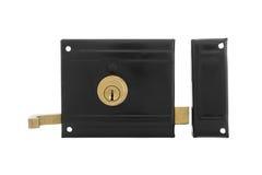 Двери и ручки двери с ключом изолированные на белизне Стоковые Изображения RF