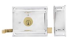 Двери и ручки двери с ключом изолированные на белизне Стоковые Изображения