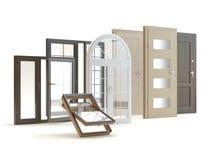 Двери и backgroud окон белое, иллюстрация 3D иллюстрация штока