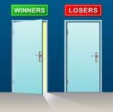 Двери победителей и проигравших иллюстрация вектора