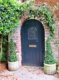 Двери при арка кирпича предусматриванная в зеленых лозах в Чарлстоне, Южной Каролине Стоковые Изображения