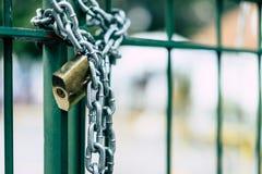 Двери стали замка и замка цепи Стоковые Фото